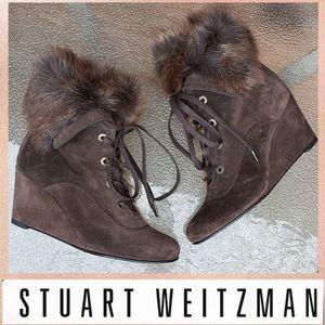 Stuart Weitzman Fur Trimmed Ankle Boots